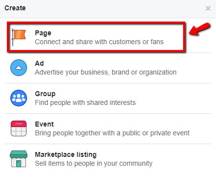 פרסום בפייסבוק - יצירת עמוד