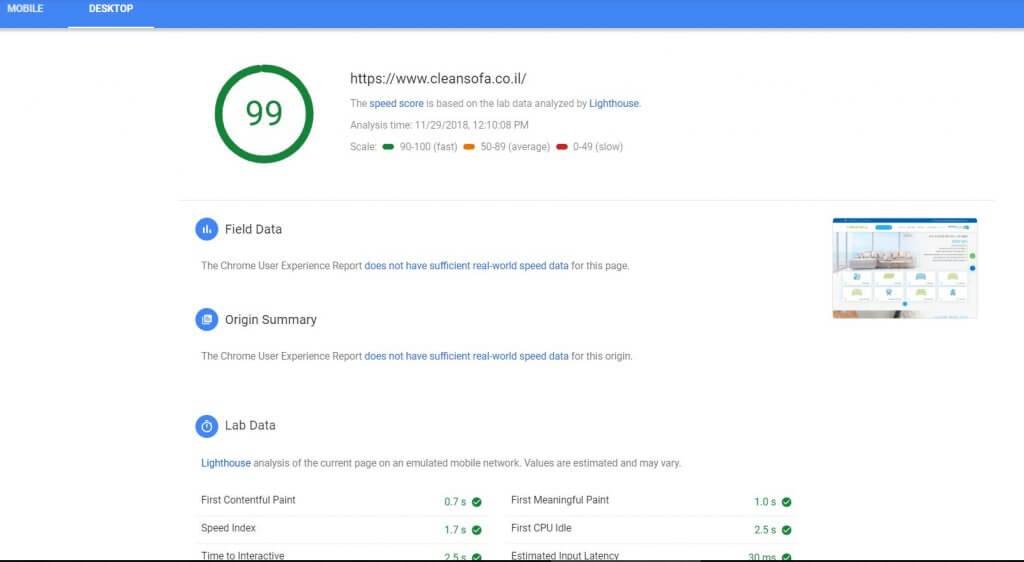 מהירות אתר desktop