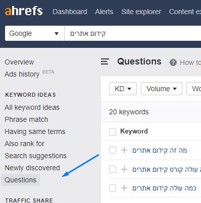 מציאת שאלות עם Aherfs