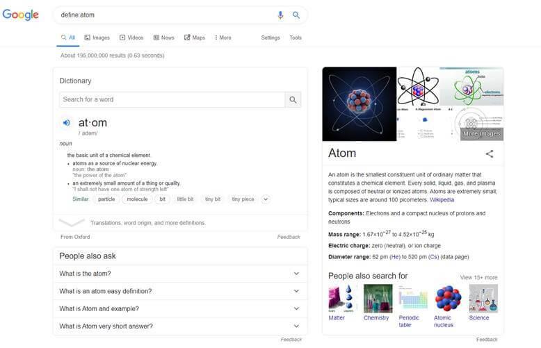 מילון מובנה בגוגל define:atom