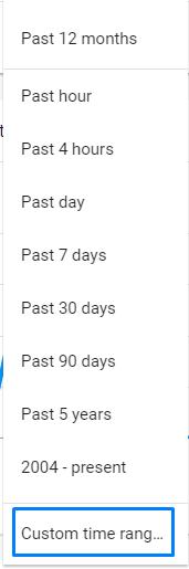 בחירת זמן גוגל טרנדס